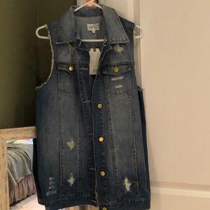 Jolt Denim Distressed Cool Vest